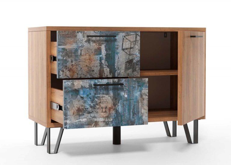 Прихожая Колибри Делано Графика Тумба с ящиками и створкой SV-Мебель