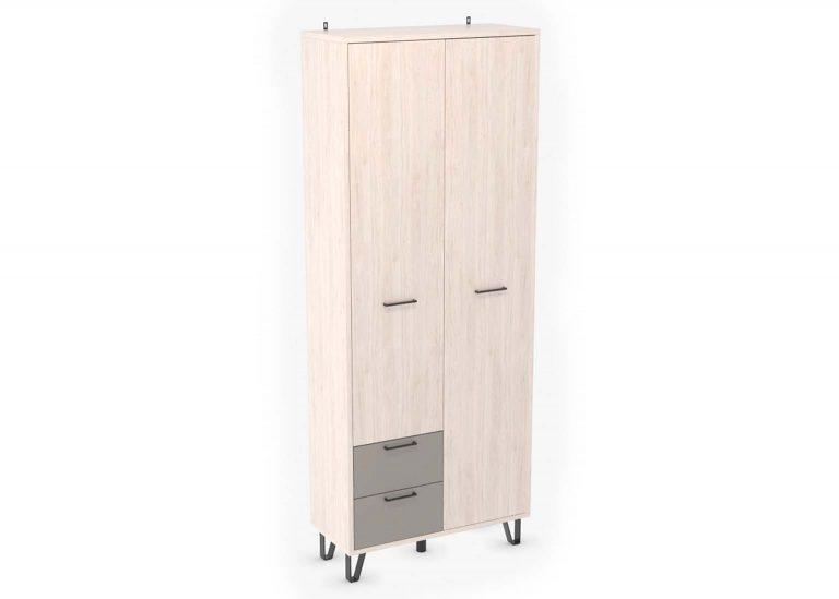 Прихожая Колибри Гикори Светлый Мокко Лофт Шкаф двухстворчатый с ящиками SV-Мебель