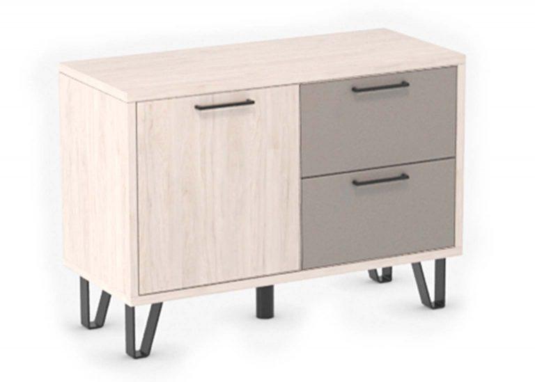 Прихожая Колибри Гикори Светлый Мокко Лофт Тумба с ящиками и створкой SV-Мебель