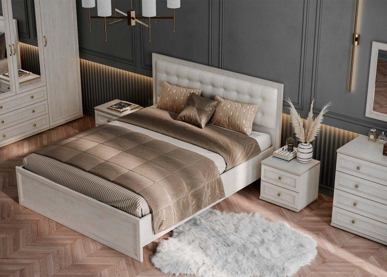 Спальня Александрия кровать с мягким изголовьем SV-Мебель