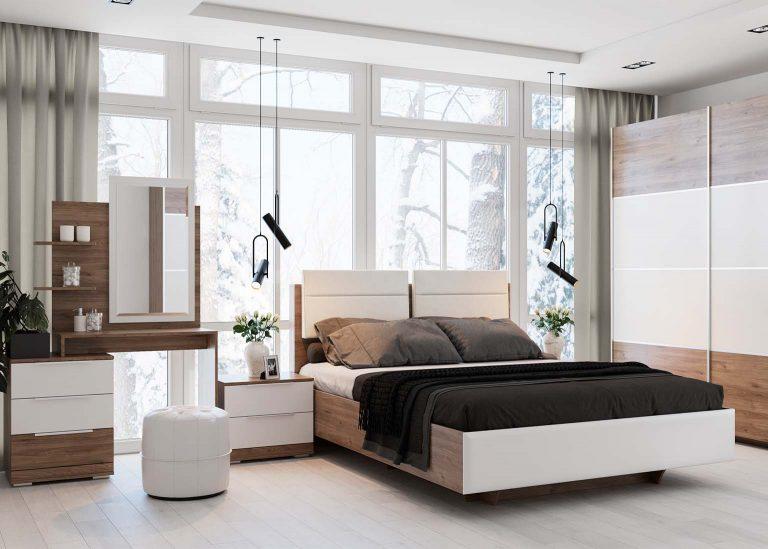 Спальня Лагуна 8 Гикори темный Белый матовый SV-Мебель