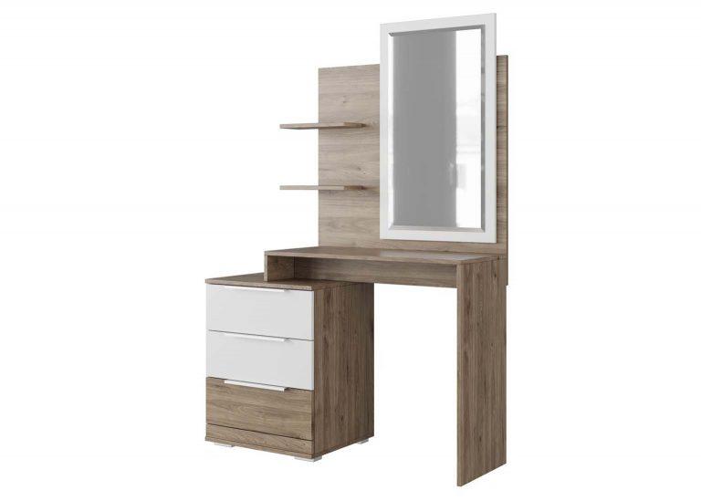 Спальня Лагуна 8 Стол туалетный Гикори темный Белый матовый SV-Мебель