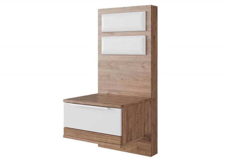 Спальня Лагуна 8 Тумба прикроватная со щитом и накладками Гикори темный Белый матовый SV-Мебель