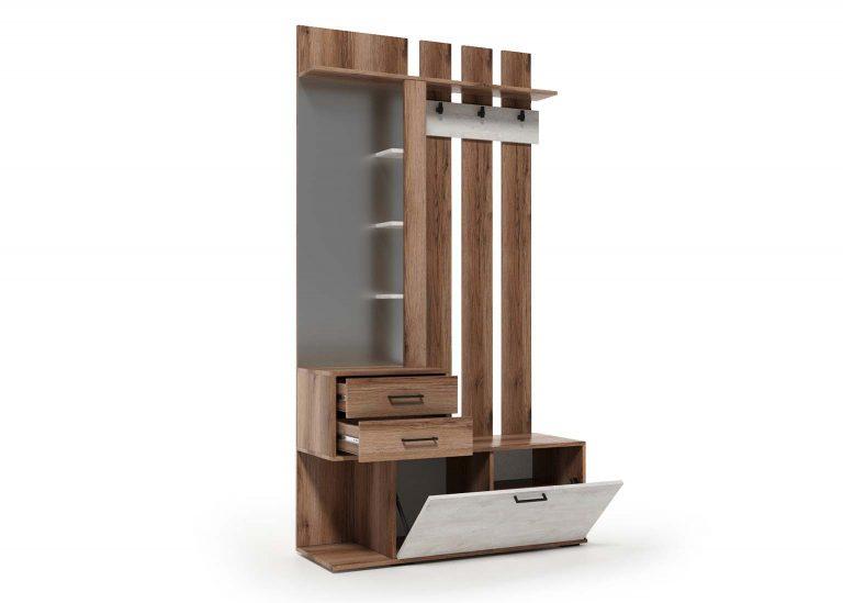 Вешалка с зеркалом открытая Сканди Дуб Делано Сосна Санторини SV-Мебель