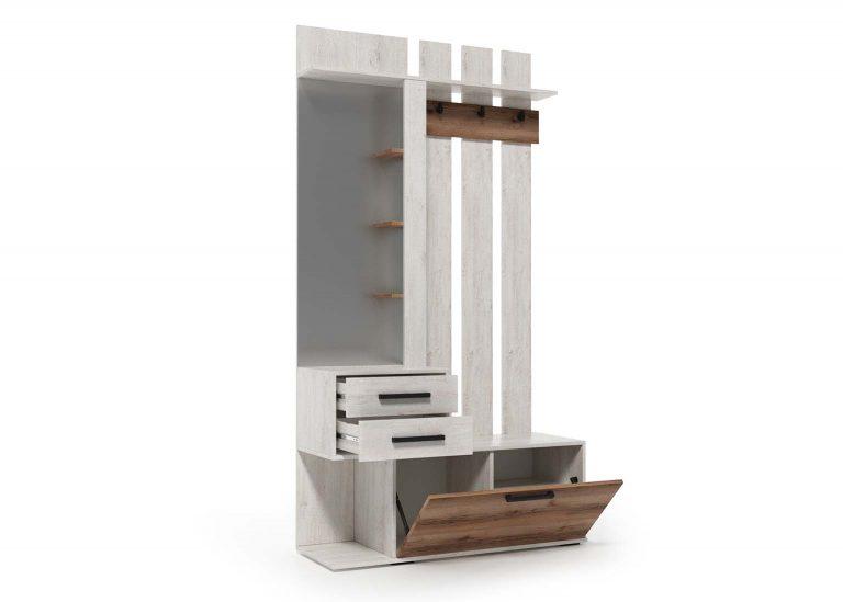 Вешалка с зеркалом открытая Сканди Сосна Санторини Дуб Делано SV-Мебель