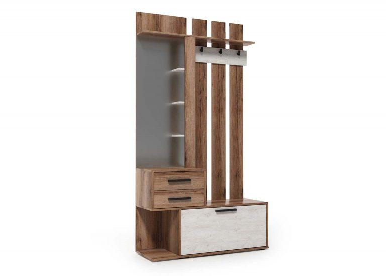 Вешалка с зеркалом Сканди Дуб Делано Сосна Санторини SV-Мебель