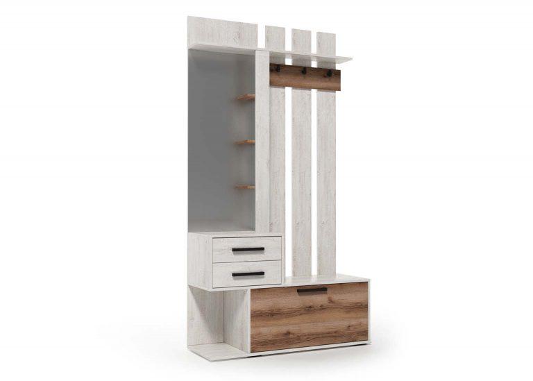 Вешалка с зеркалом Сканди Сосна Санторини Дуб Делано SV-Мебель