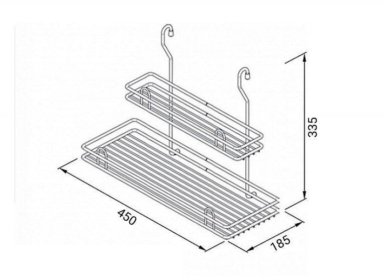 Корзина двойная большая металл схема SV-мебель