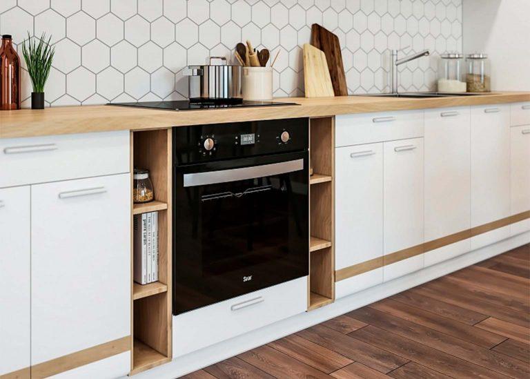 Кухня Соло Белый глянец вставка Дуб Сонома SV-Мебель