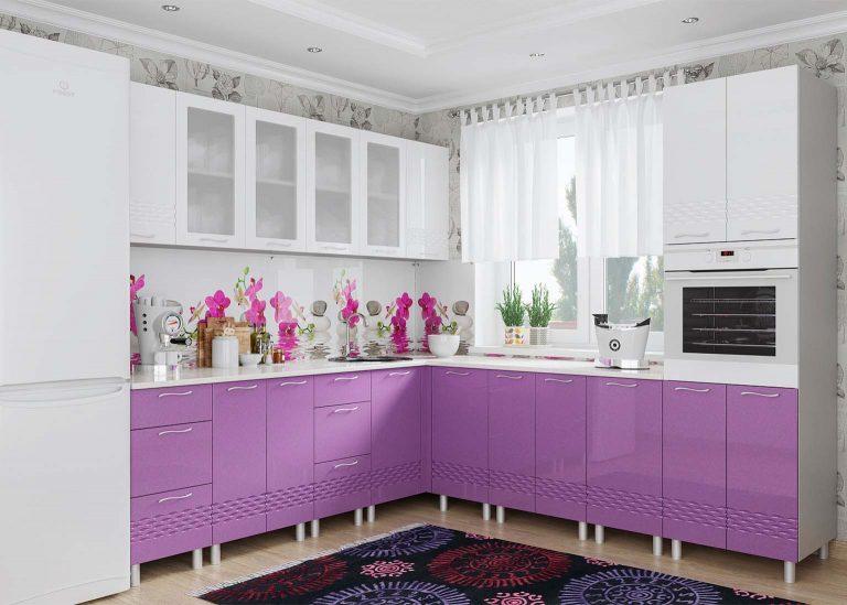 Кухня Волна Фиолетовый металлик Белый металлик SV-Мебель