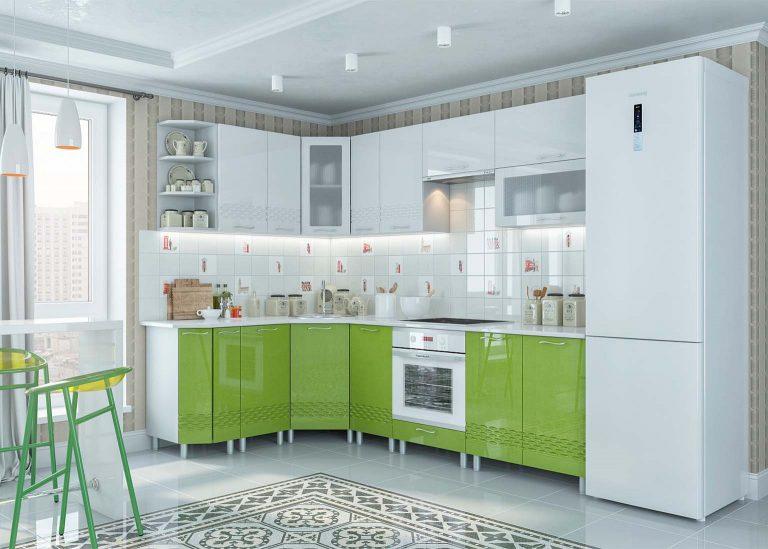 Кухня Волна Олива металлик Белый металлик SV-Мебель