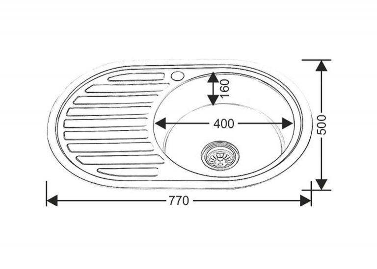 Мойка WW 7750L-P 0.6 160 овал (чаша слева) схема SV-мебель