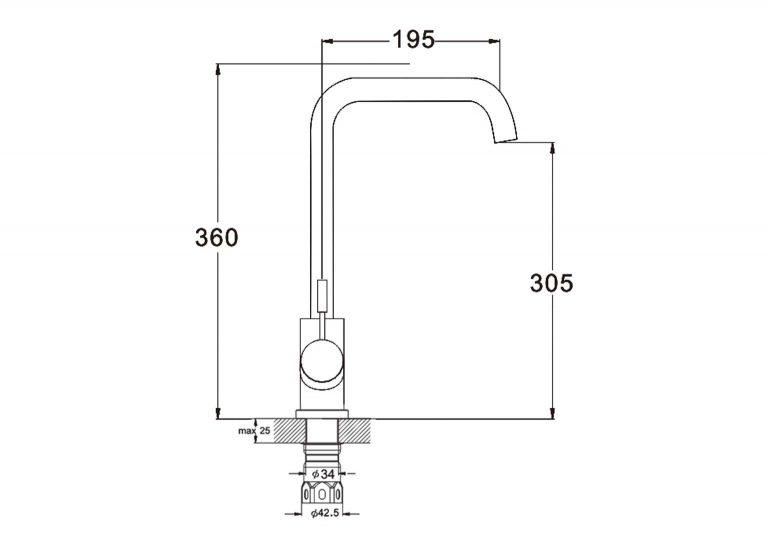Смеситель для кухни 35к Glauf ZAP4-B090 высокий излив схема