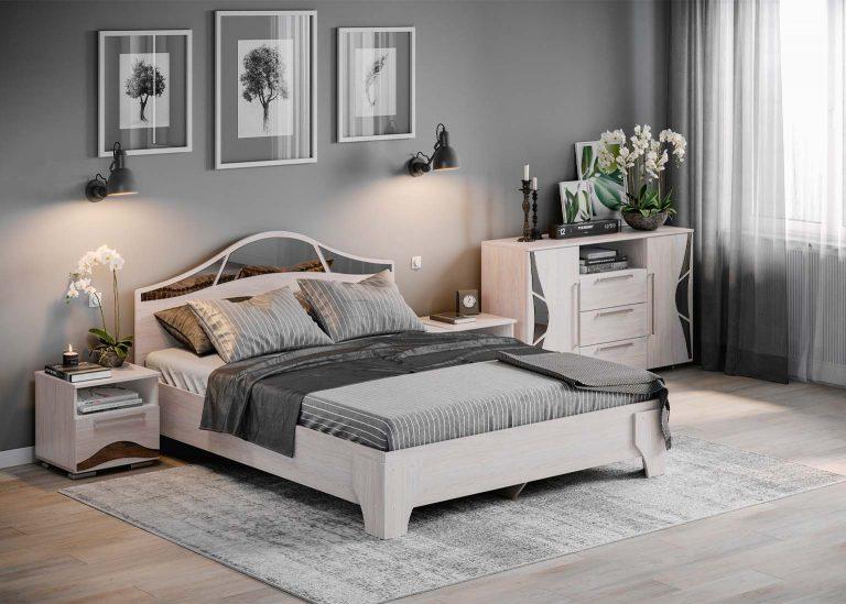 Спальня Лагуна 5 Кровать двойная двухспальная Ясень Анкор светлый SV-Мебель