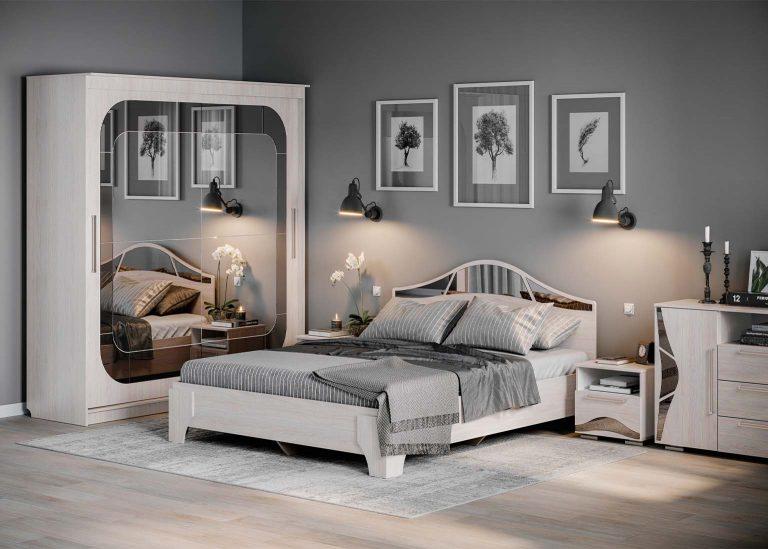 Спальня Лагуна 5 со Шкафом Ясень Анкор светлый SV-Мебель